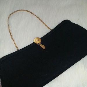 Vintage Black Clutch w/ Gold Hardware EUC